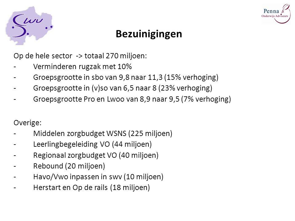 Bezuinigingen Op de hele sector -> totaal 270 miljoen: -Verminderen rugzak met 10% -Groepsgrootte in sbo van 9,8 naar 11,3 (15% verhoging) -Groepsgroo
