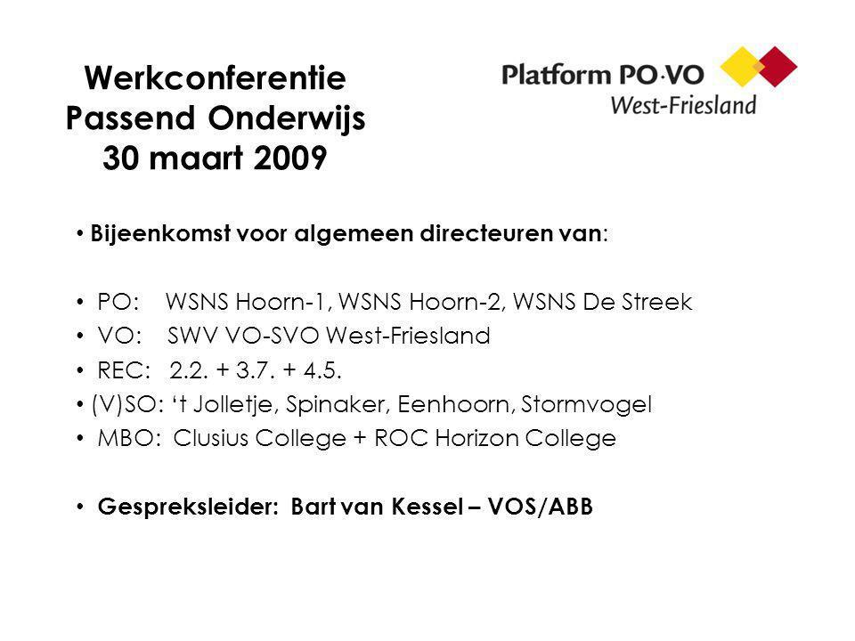 Werkconferentie Passend Onderwijs 30 maart 2009 Bijeenkomst voor algemeen directeuren van : PO: WSNS Hoorn-1, WSNS Hoorn-2, WSNS De Streek VO: SWV VO-SVO West-Friesland REC: 2.2.