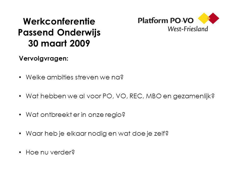 Werkconferentie Passend Onderwijs 30 maart 2009 Vervolgvragen: Welke ambities streven we na? Wat hebben we al voor PO, VO, REC, MBO en gezamenlijk? Wa