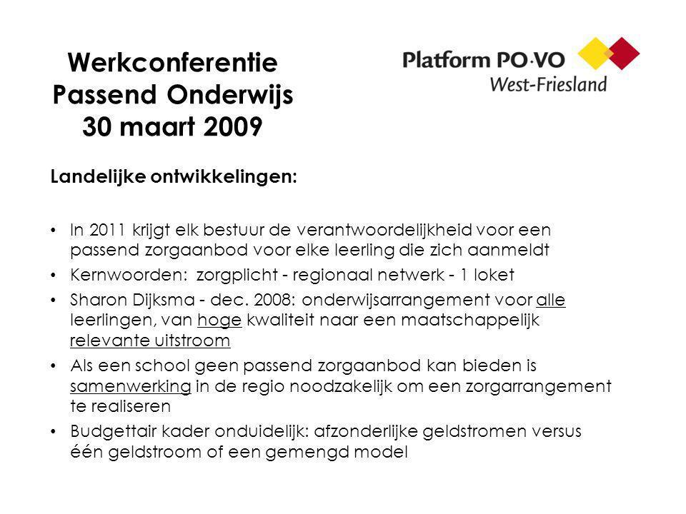 Werkconferentie Passend Onderwijs 30 maart 2009 Landelijke ontwikkelingen: In 2011 krijgt elk bestuur de verantwoordelijkheid voor een passend zorgaanbod voor elke leerling die zich aanmeldt Kernwoorden: zorgplicht - regionaal netwerk - 1 loket Sharon Dijksma - dec.