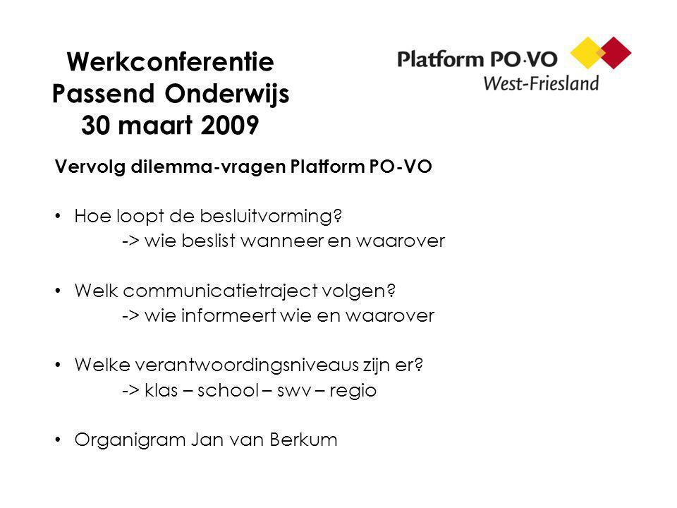 Werkconferentie Passend Onderwijs 30 maart 2009 Vervolg dilemma-vragen Platform PO-VO Hoe loopt de besluitvorming? -> wie beslist wanneer en waarover