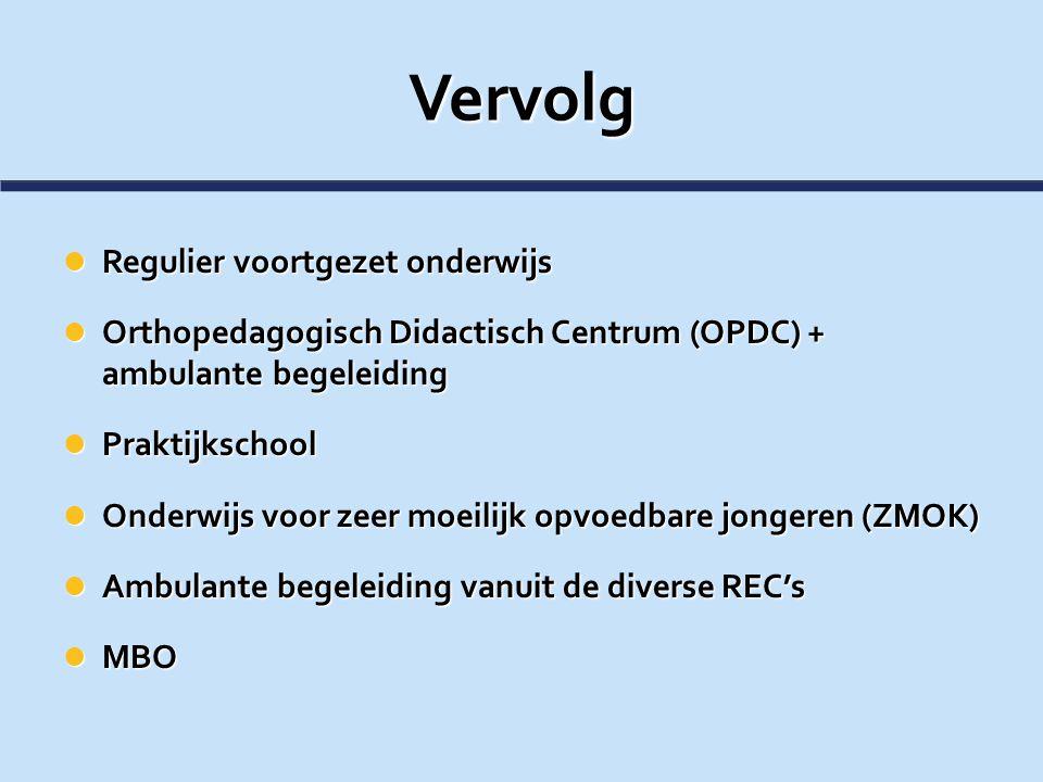 Vervolg Regulier voortgezet onderwijs Regulier voortgezet onderwijs Orthopedagogisch Didactisch Centrum (OPDC) + ambulante begeleiding Orthopedagogisc