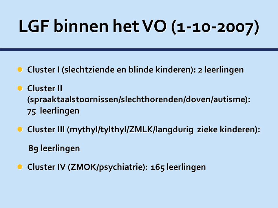 LGF binnen het VO (1-10-2007) Cluster I (slechtziende en blinde kinderen): 2 leerlingen Cluster I (slechtziende en blinde kinderen): 2 leerlingen Clus