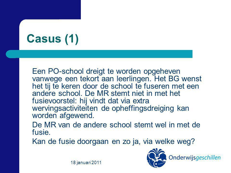 Casus (1) Een PO-school dreigt te worden opgeheven vanwege een tekort aan leerlingen.