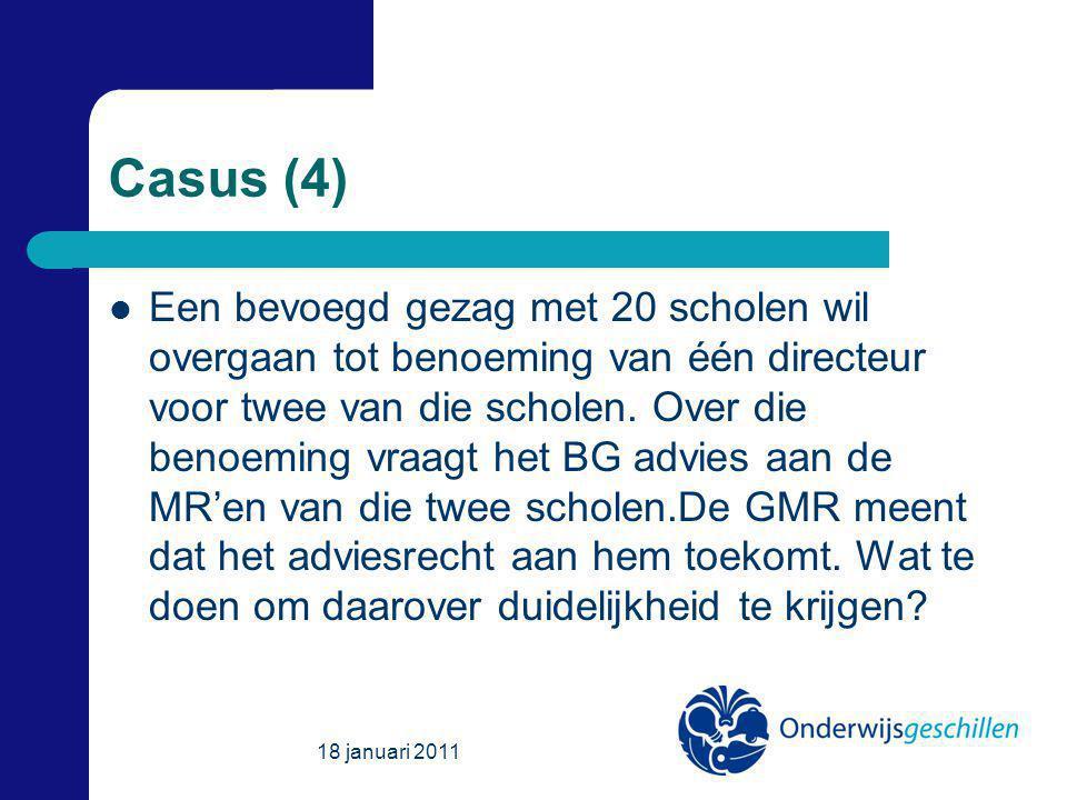 Casus (4) Een bevoegd gezag met 20 scholen wil overgaan tot benoeming van één directeur voor twee van die scholen.