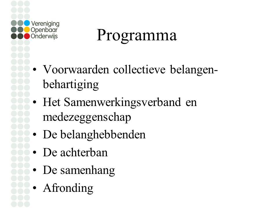 Programma Voorwaarden collectieve belangen- behartiging Het Samenwerkingsverband en medezeggenschap De belanghebbenden De achterban De samenhang Afronding