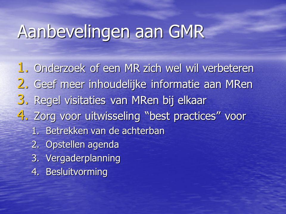 Aanbevelingen aan GMR 1. Onderzoek of een MR zich wel wil verbeteren 2. Geef meer inhoudelijke informatie aan MRen 3. Regel visitaties van MRen bij el