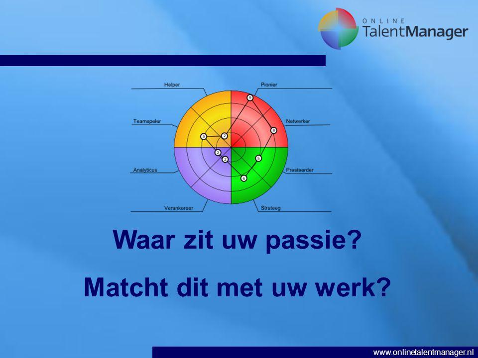 www.onlinetalentmanager.nl Waar zit uw passie? Matcht dit met uw werk?
