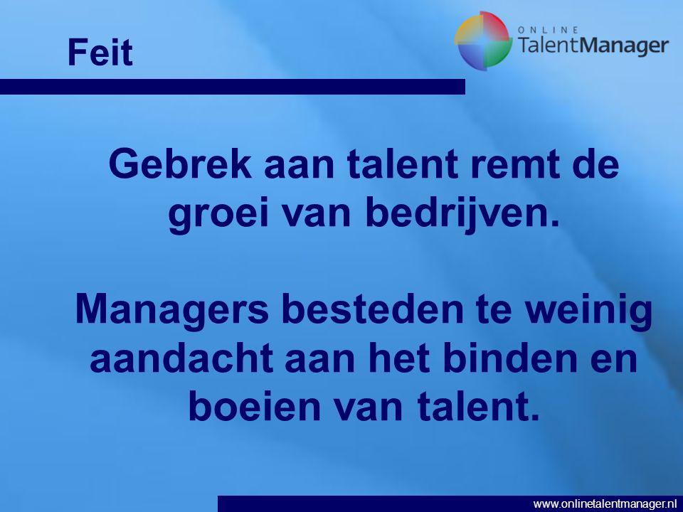 www.onlinetalentmanager.nl Gebrek aan talent remt de groei van bedrijven.