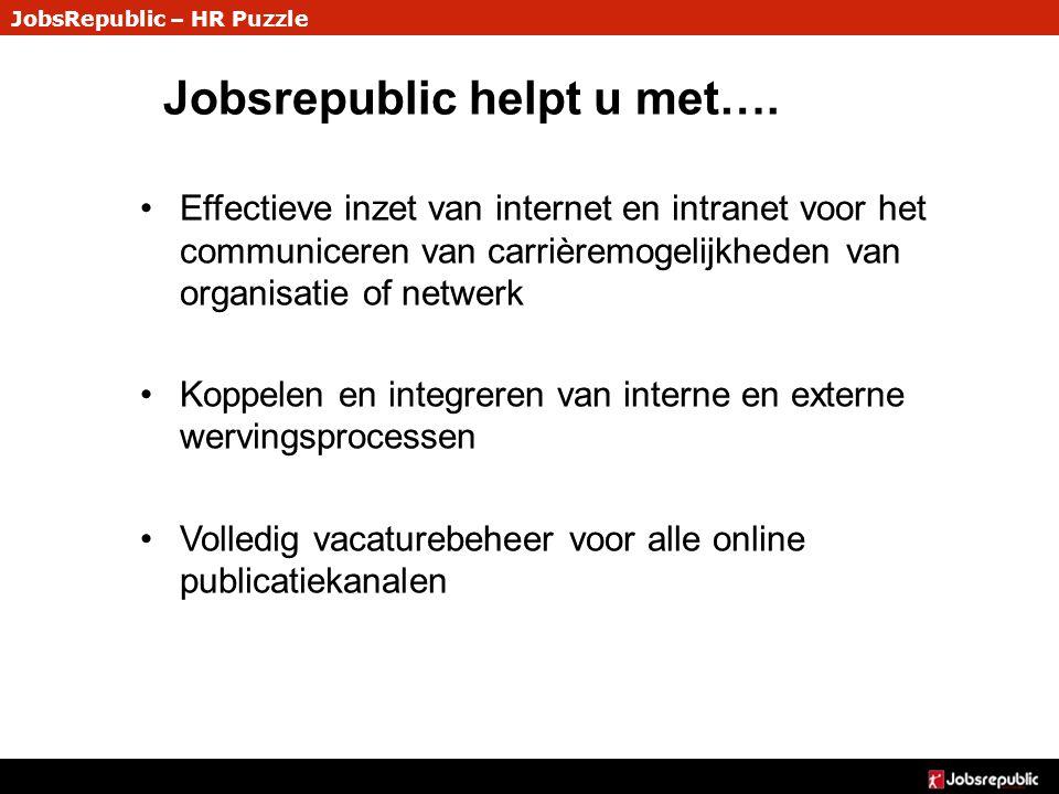 JobsRepublic – HR Puzzle Jobsrepublic helpt u met…. Effectieve inzet van internet en intranet voor het communiceren van carrièremogelijkheden van orga