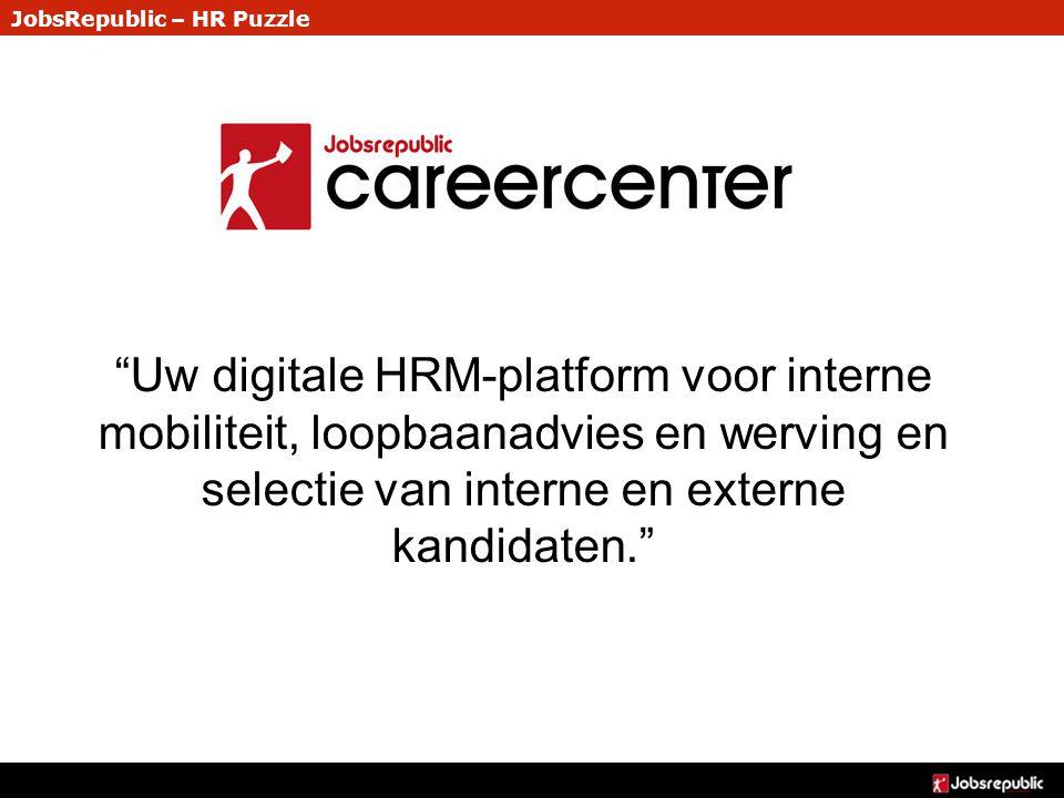 """JobsRepublic – HR Puzzle """"Uw digitale HRM-platform voor interne mobiliteit, loopbaanadvies en werving en selectie van interne en externe kandidaten."""""""