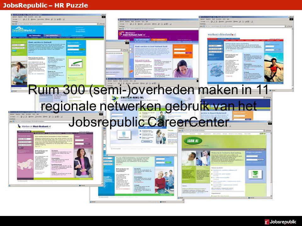 JobsRepublic – HR Puzzle Ruim 300 (semi-)overheden maken in 11 regionale netwerken gebruik van het Jobsrepublic CareerCenter