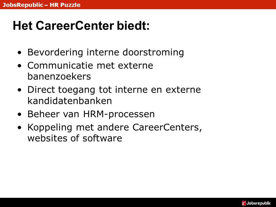 JobsRepublic – HR Puzzle Het CareerCenter biedt: Bevordering interne doorstroming Communicatie met externe banenzoekers Direct toegang tot interne en