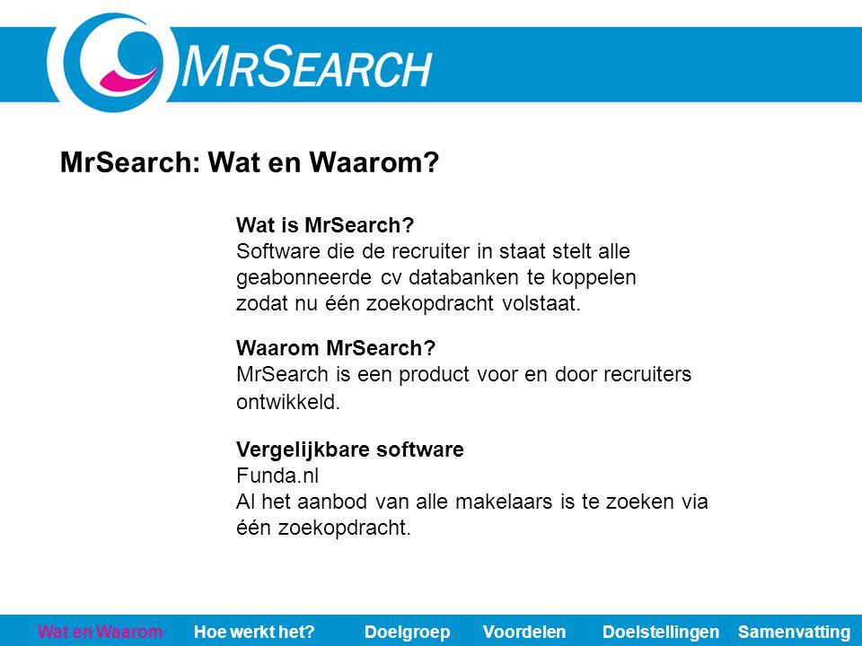 Wat en WaaromHoe werkt het?DoelgroepVoordelenDoelstellingenSamenvatting MrSearch: Wat en Waarom? Waarom MrSearch? MrSearch is een product voor en door