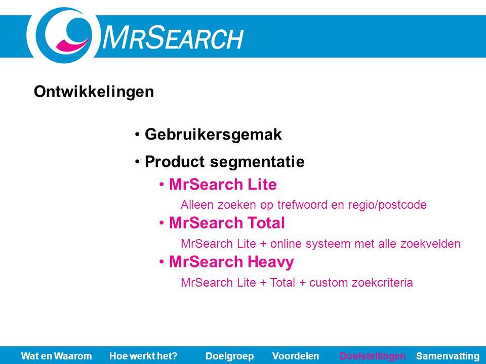 Gebruikersgemak Product segmentatie MrSearch Lite Alleen zoeken op trefwoord en regio/postcode MrSearch Total MrSearch Lite + online systeem met alle