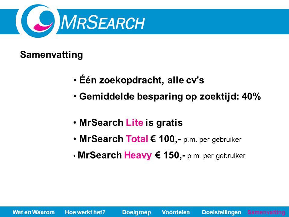 Één zoekopdracht, alle cv's Gemiddelde besparing op zoektijd: 40% MrSearch Lite is gratis MrSearch Total € 100,- p.m. per gebruiker MrSearch Heavy € 1