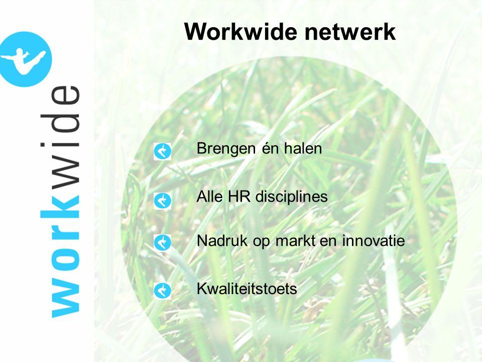 Workwide netwerk Brengen én halen Alle HR disciplines Nadruk op markt en innovatie Kwaliteitstoets