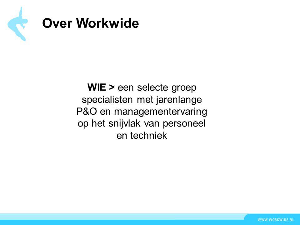 Over Workwide WIE > een selecte groep specialisten met jarenlange P&O en managementervaring op het snijvlak van personeel en techniek