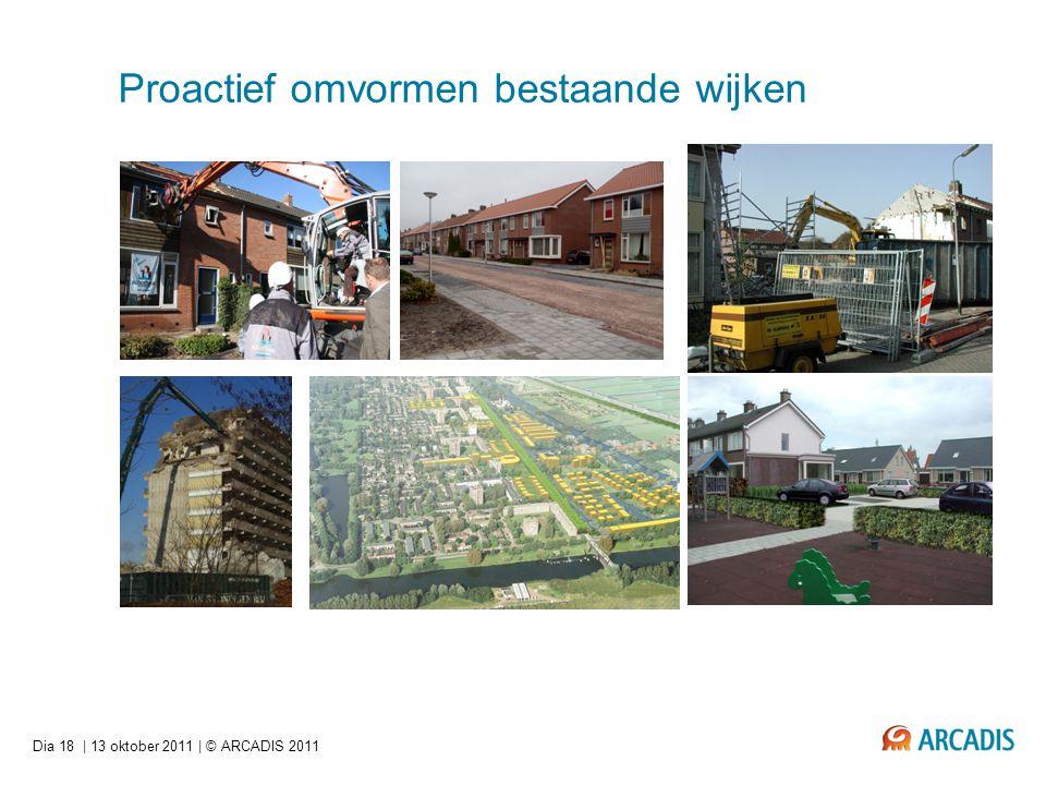 Dia 18   13 oktober 2011   © ARCADIS 2011 Proactief omvormen bestaande wijken