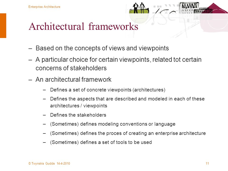 © Twynstra Gudde 14-4-2010 Enterprise Architecture 11 Architectural frameworks –Based on the concepts of views and viewpoints –A particular choice for