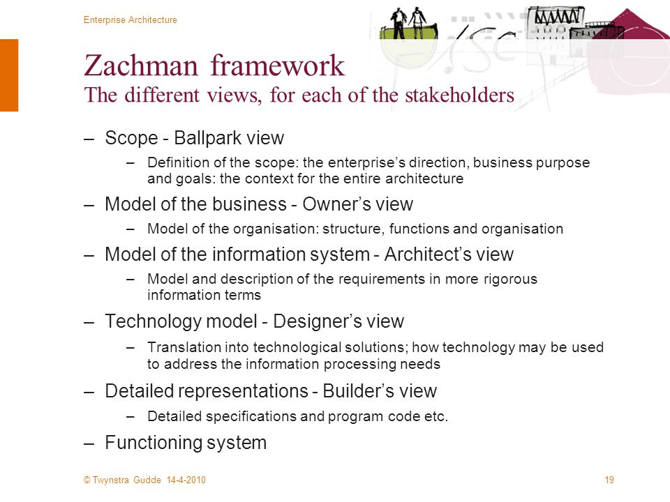 © Twynstra Gudde 14-4-2010 Enterprise Architecture 19 Zachman framework The different views, for each of the stakeholders –Scope - Ballpark view –Definition of the scope: the enterprise's direction, business purpose and goals: the context for the entire architecture –Model of the business - Owner's view –Model of the organisation: structure, functions and organisation –Model of the information system - Architect's view –Model and description of the requirements in more rigorous information terms –Technology model - Designer's view –Translation into technological solutions; how technology may be used to address the information processing needs –Detailed representations - Builder's view –Detailed specifications and program code etc.