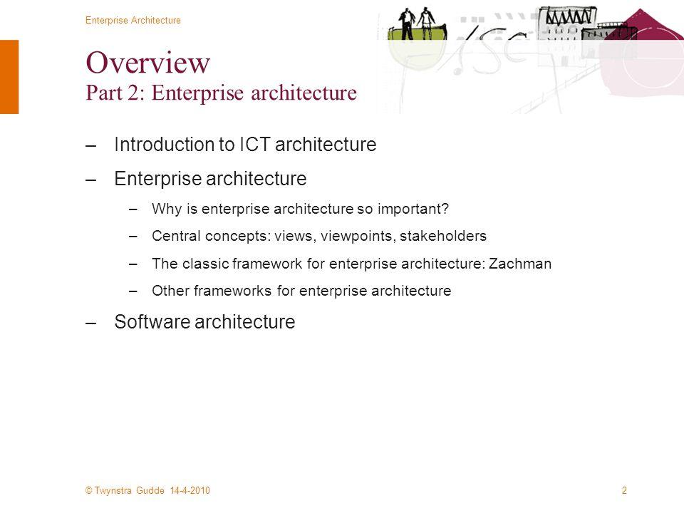 © Twynstra Gudde 14-4-2010 Enterprise Architecture 2 Overview Part 2: Enterprise architecture –Introduction to ICT architecture –Enterprise architecture –Why is enterprise architecture so important.