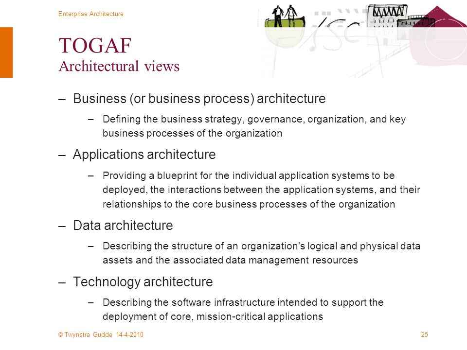 © Twynstra Gudde 14-4-2010 Enterprise Architecture 25 TOGAF Architectural views –Business (or business process) architecture –Defining the business st