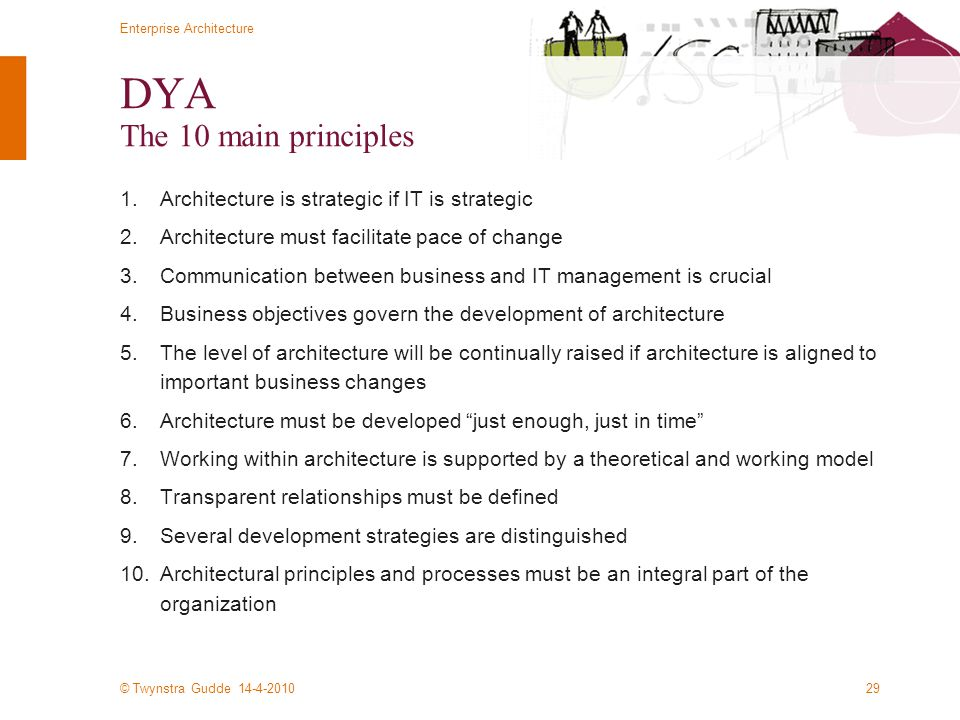 © Twynstra Gudde 14-4-2010 Enterprise Architecture 29 DYA The 10 main principles 1.Architecture is strategic if IT is strategic 2.Architecture must fa