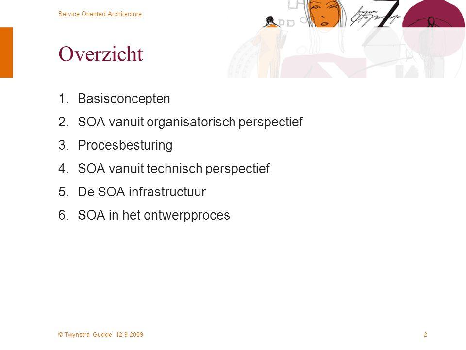 © Twynstra Gudde 12-9-2009 Service Oriented Architecture 2 Overzicht 1.Basisconcepten 2.SOA vanuit organisatorisch perspectief 3.Procesbesturing 4.SOA vanuit technisch perspectief 5.De SOA infrastructuur 6.SOA in het ontwerpproces