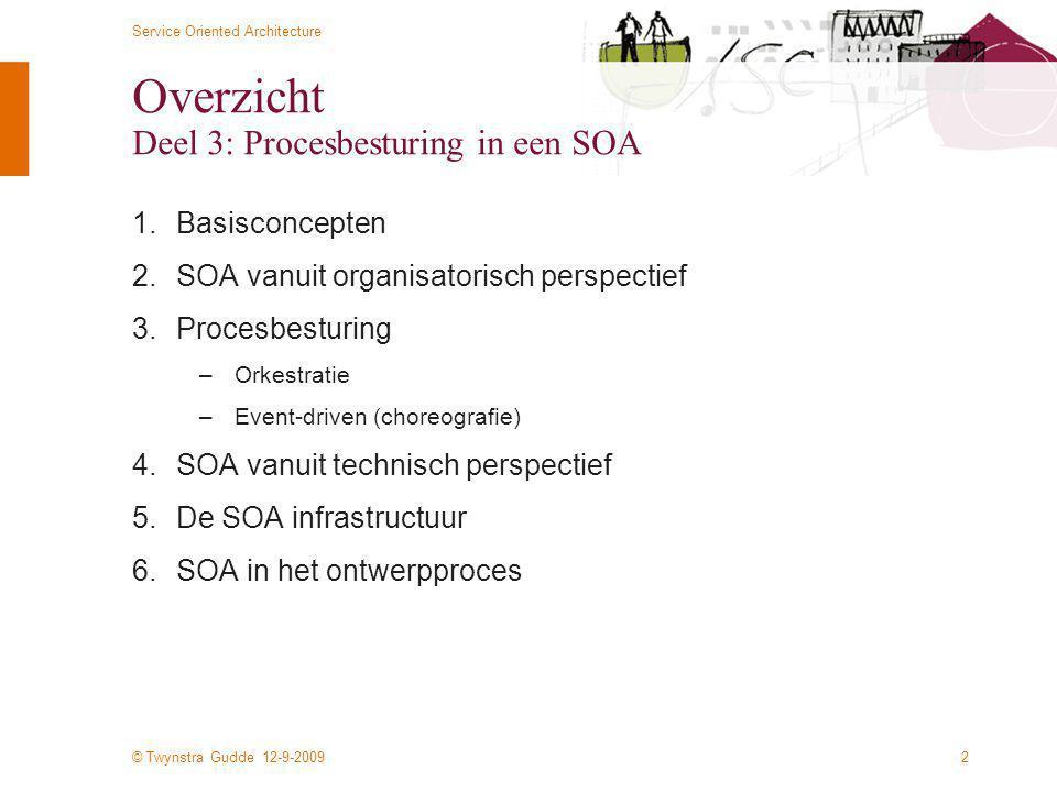 © Twynstra Gudde 12-9-2009 Service Oriented Architecture 2 Overzicht Deel 3: Procesbesturing in een SOA 1.Basisconcepten 2.SOA vanuit organisatorisch