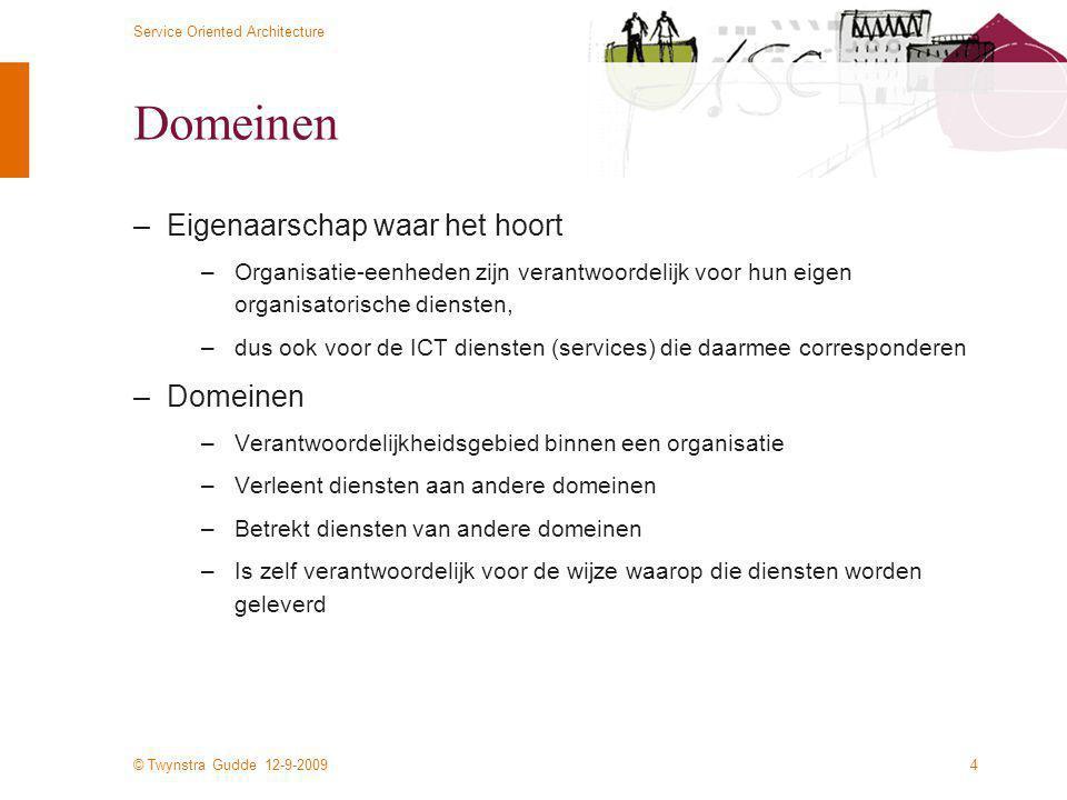 © Twynstra Gudde 12-9-2009 Service Oriented Architecture 4 Domeinen –Eigenaarschap waar het hoort –Organisatie-eenheden zijn verantwoordelijk voor hun