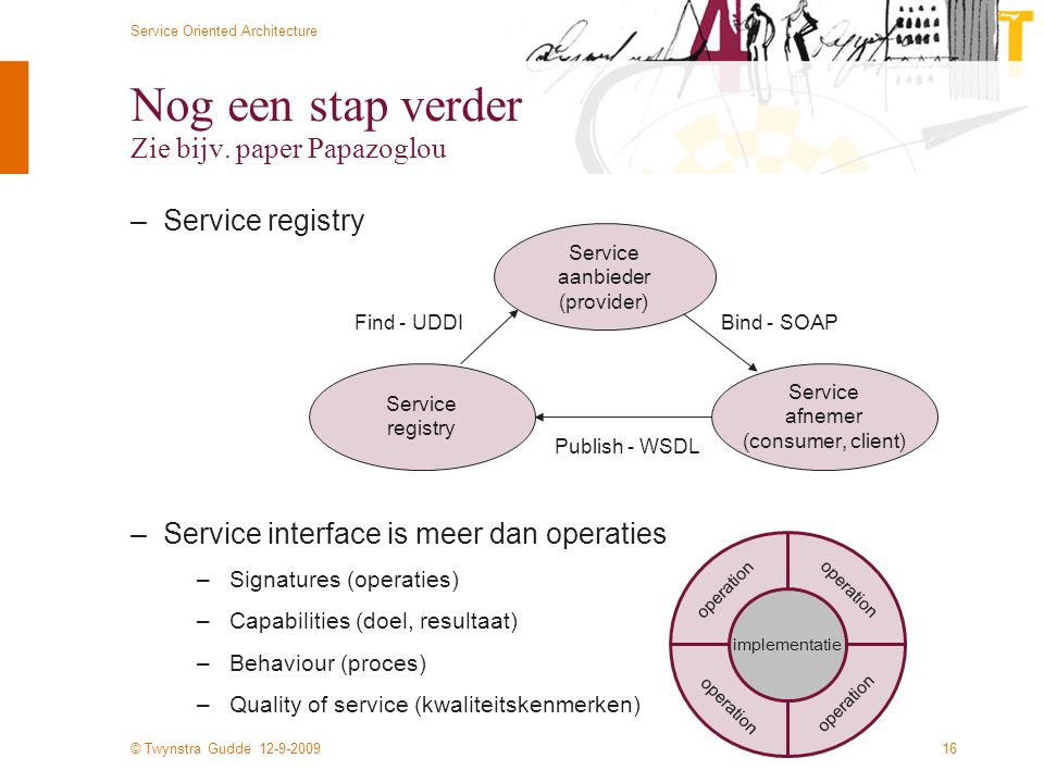© Twynstra Gudde 12-9-2009 Service Oriented Architecture 16 Nog een stap verder Zie bijv. paper Papazoglou –Service registry –Service interface is mee