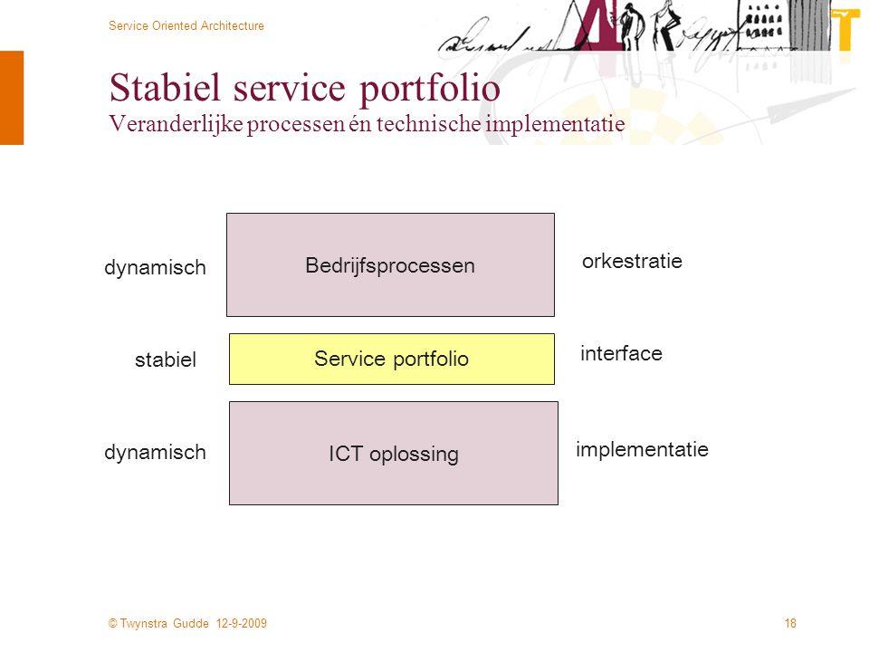 © Twynstra Gudde 12-9-2009 Service Oriented Architecture 18 Stabiel service portfolio Veranderlijke processen én technische implementatie Bedrijfsproc