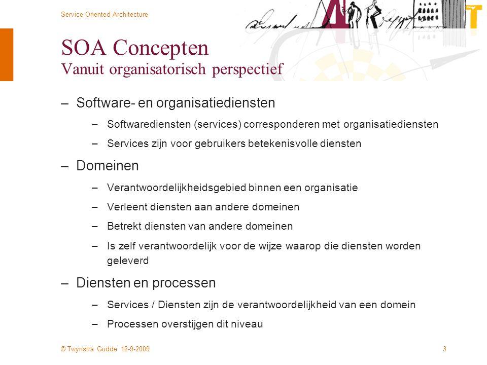 © Twynstra Gudde 12-9-2009 Service Oriented Architecture 3 SOA Concepten Vanuit organisatorisch perspectief –Software- en organisatiediensten –Softwar
