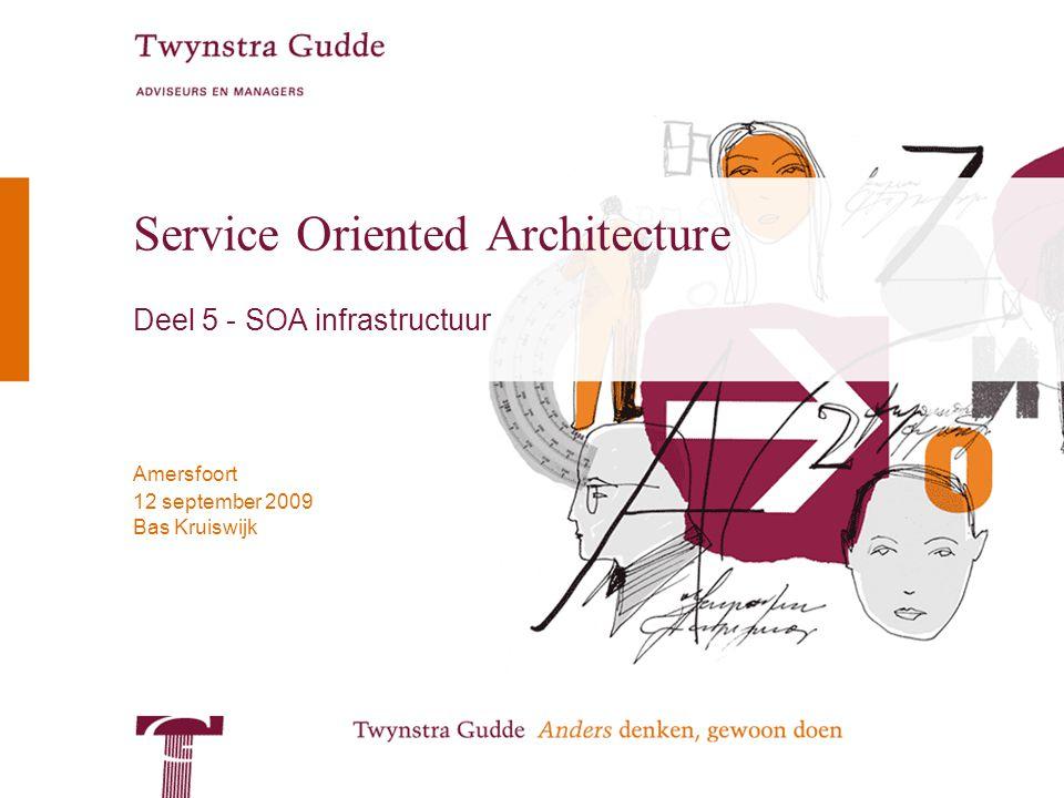 © Twynstra Gudde 12-9-2009 Service Oriented Architecture 2 Overzicht Deel 5: De SOA infrastructuur 1.Basisconcepten 2.SOA vanuit organisatorisch perspectief 3.Procesbesturing 4.SOA vanuit technisch perspectief 5.De SOA infrastructuur –Enterprise Servicebus (ESB) –Portaal –Orkestratie engine 6.SOA in het ontwerpproces