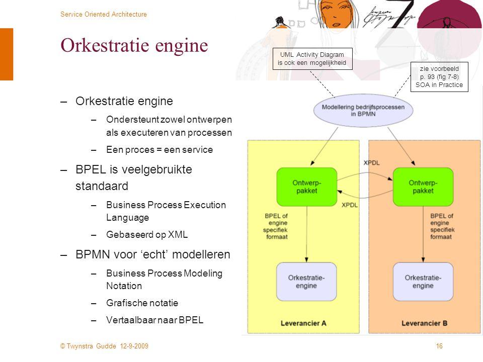 © Twynstra Gudde 12-9-2009 Service Oriented Architecture 16 Orkestratie engine –Orkestratie engine –Ondersteunt zowel ontwerpen als executeren van pro
