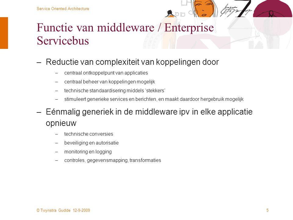 © Twynstra Gudde 12-9-2009 Service Oriented Architecture 5 Functie van middleware / Enterprise Servicebus –Reductie van complexiteit van koppelingen d
