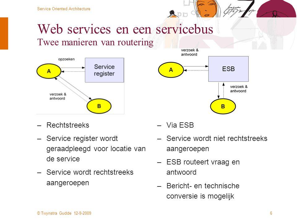 © Twynstra Gudde 12-9-2009 Service Oriented Architecture 6 Web services en een servicebus Twee manieren van routering –Rechtstreeks –Service register