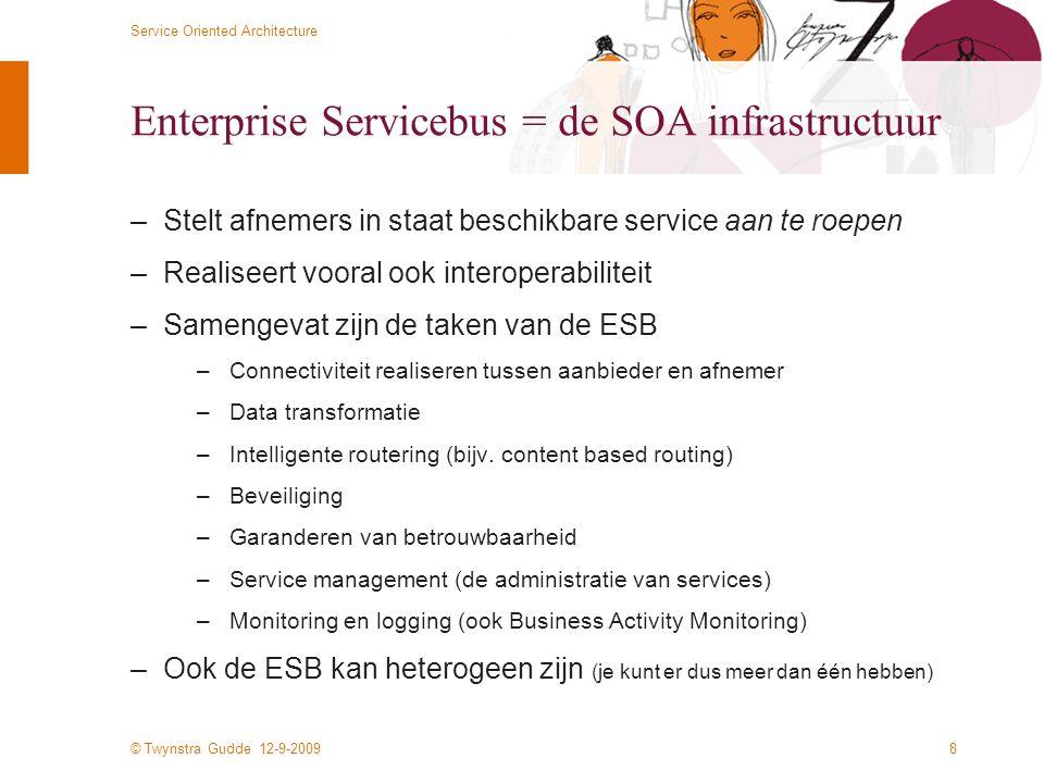© Twynstra Gudde 12-9-2009 Service Oriented Architecture 8 Enterprise Servicebus = de SOA infrastructuur –Stelt afnemers in staat beschikbare service