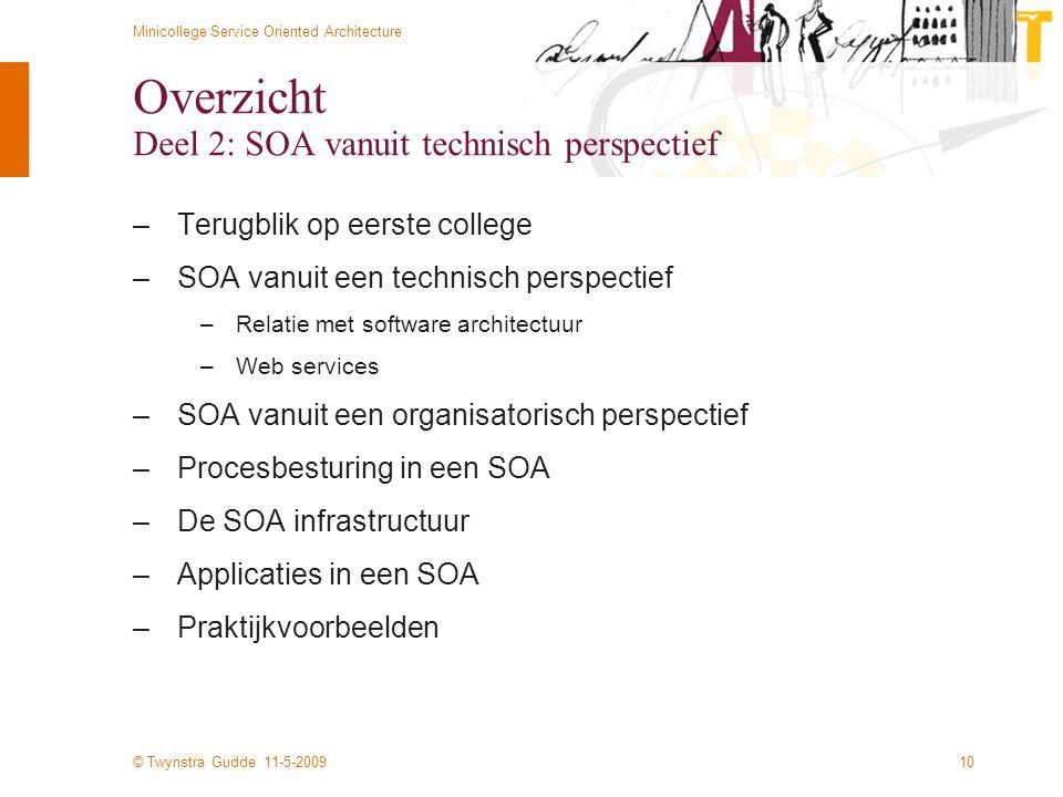 © Twynstra Gudde 11-5-2009 Minicollege Service Oriented Architecture 10 Overzicht Deel 2: SOA vanuit technisch perspectief –Terugblik op eerste colleg
