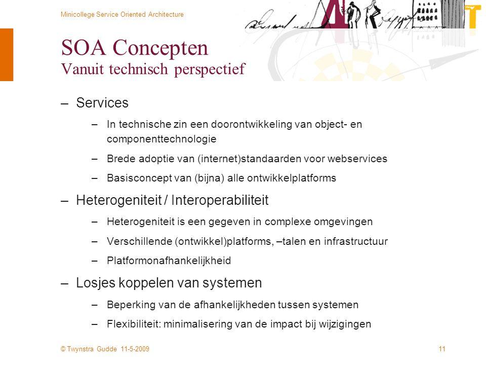 © Twynstra Gudde 11-5-2009 Minicollege Service Oriented Architecture 11 SOA Concepten Vanuit technisch perspectief –Services –In technische zin een do
