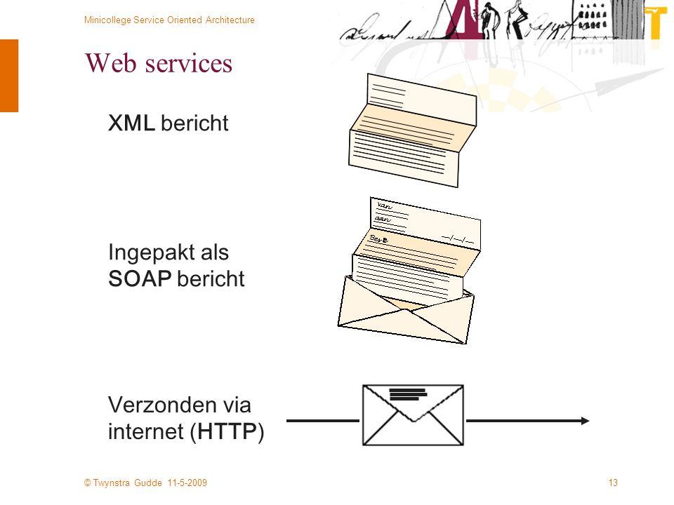 © Twynstra Gudde 11-5-2009 Minicollege Service Oriented Architecture 13 Web services XML bericht Ingepakt als SOAP bericht Verzonden via internet (HTT