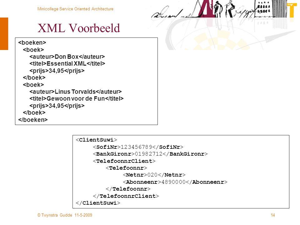 © Twynstra Gudde 11-5-2009 Minicollege Service Oriented Architecture 14 XML Voorbeeld Don Box Essential XML 34,95 Linus Torvalds Gewoon voor de Fun 34