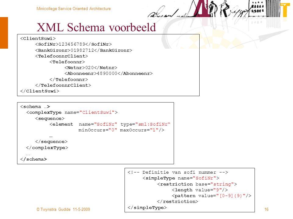 © Twynstra Gudde 11-5-2009 Minicollege Service Oriented Architecture 16 XML Schema voorbeeld 123456789 01982712 020 4890000 <element name=