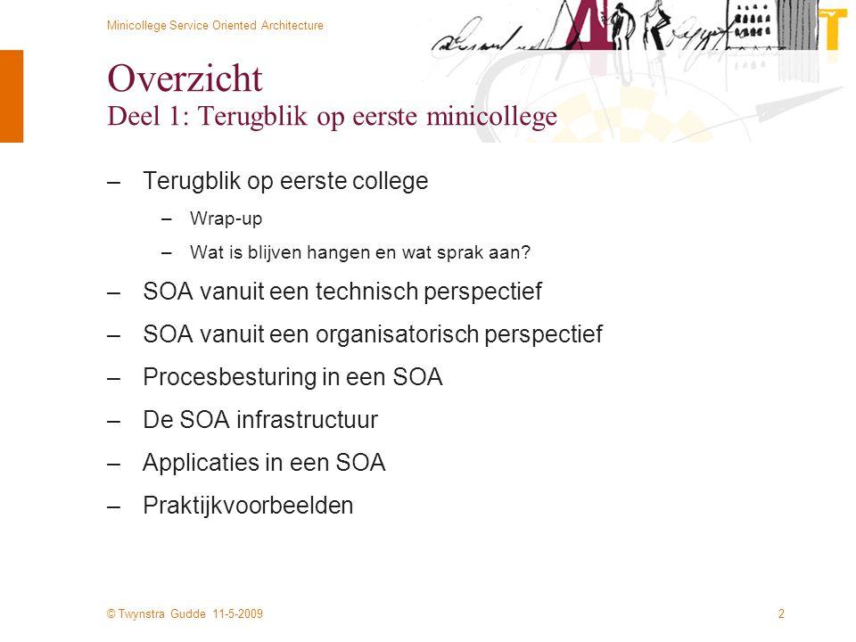 © Twynstra Gudde 11-5-2009 Minicollege Service Oriented Architecture 53 1: Vraag 2: Antwoord 3: Aanvraag 4: Aanmaken zaak 5: Doorzetten naar backoffice 6: Status / Resultaat E-Dienstverlening