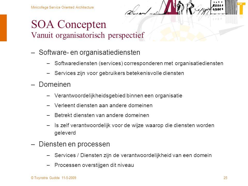 © Twynstra Gudde 11-5-2009 Minicollege Service Oriented Architecture 25 SOA Concepten Vanuit organisatorisch perspectief –Software- en organisatiedien
