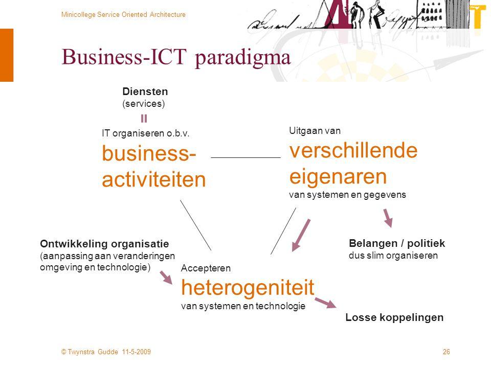© Twynstra Gudde 11-5-2009 Minicollege Service Oriented Architecture 26 Business-ICT paradigma Accepteren heterogeniteit van systemen en technologie U