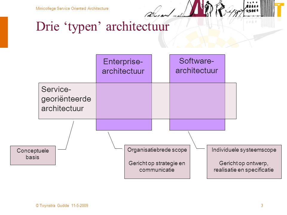 © Twynstra Gudde 11-5-2009 Minicollege Service Oriented Architecture 3 Drie 'typen' architectuur Enterprise- architectuur Software- architectuur Servi