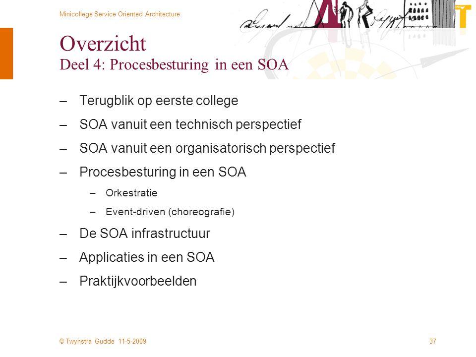 © Twynstra Gudde 11-5-2009 Minicollege Service Oriented Architecture 37 Overzicht Deel 4: Procesbesturing in een SOA –Terugblik op eerste college –SOA