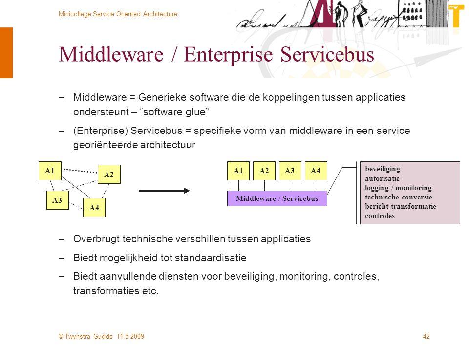 © Twynstra Gudde 11-5-2009 Minicollege Service Oriented Architecture 42 Middleware / Enterprise Servicebus –Middleware = Generieke software die de kop